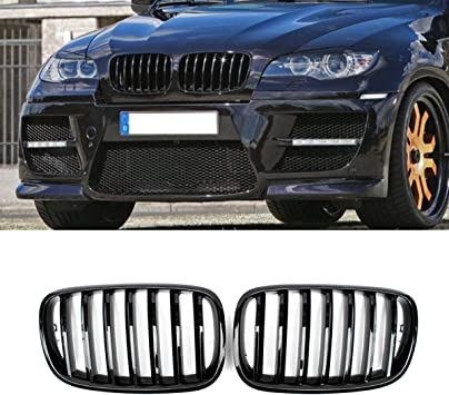 LONGKEES Glossy Kidney Grille Front Bumper ABS Plastic Grille For 2007-2013 BMW X5 E70