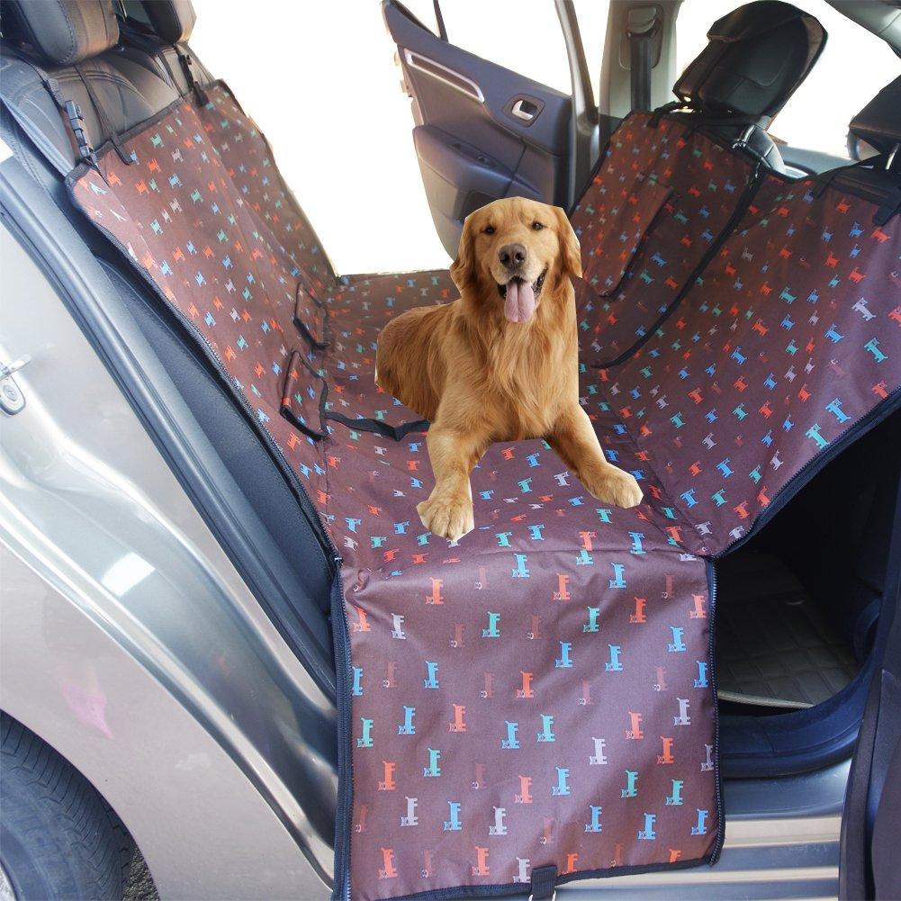 Funda de Asiento de Coche de Perro a prueba de agua Asiento de Asiento de Perro de Mascota Asiento Trasero para Carro SUV Tronco Cubierta de Protecci/ón de Hamaca con Solapas de Caf/é