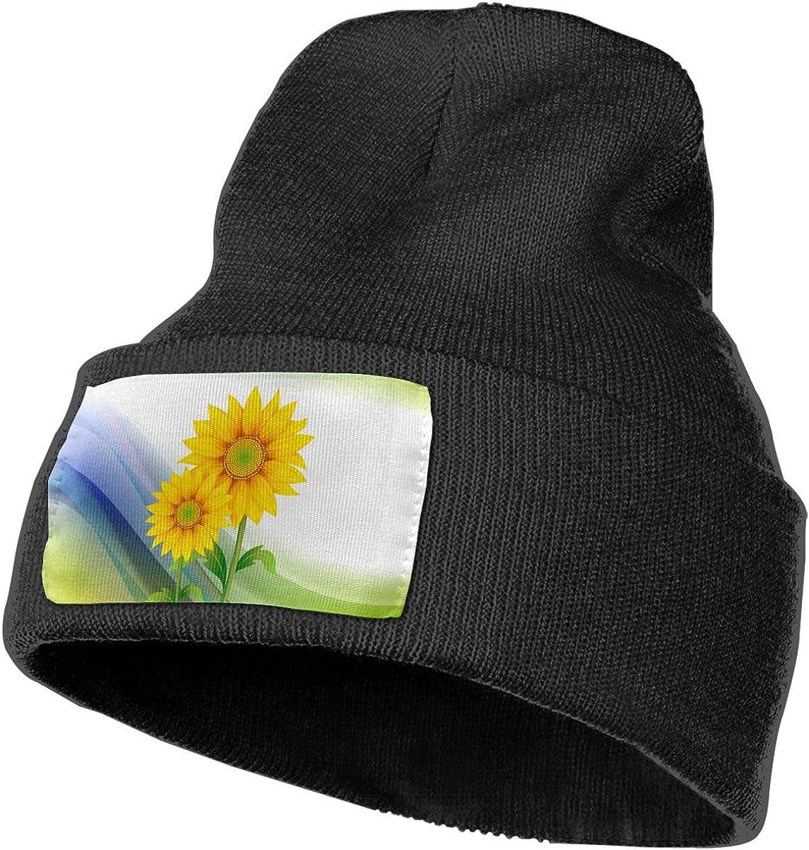 Beautiful Sunflower Men/&Women Warm Winter Knit Plain Beanie Hat Skull Cap Acrylic Knit Cuff Hat