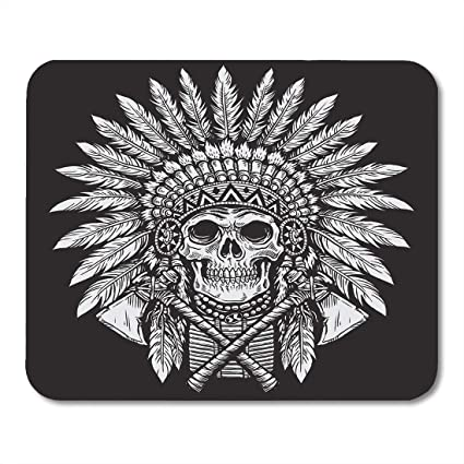 a34221a54 Emvency Mouse Pads Indian Bold Native American Skull Chief Tattoo Cherokee  Plume Warrior Mousepad 9.5""