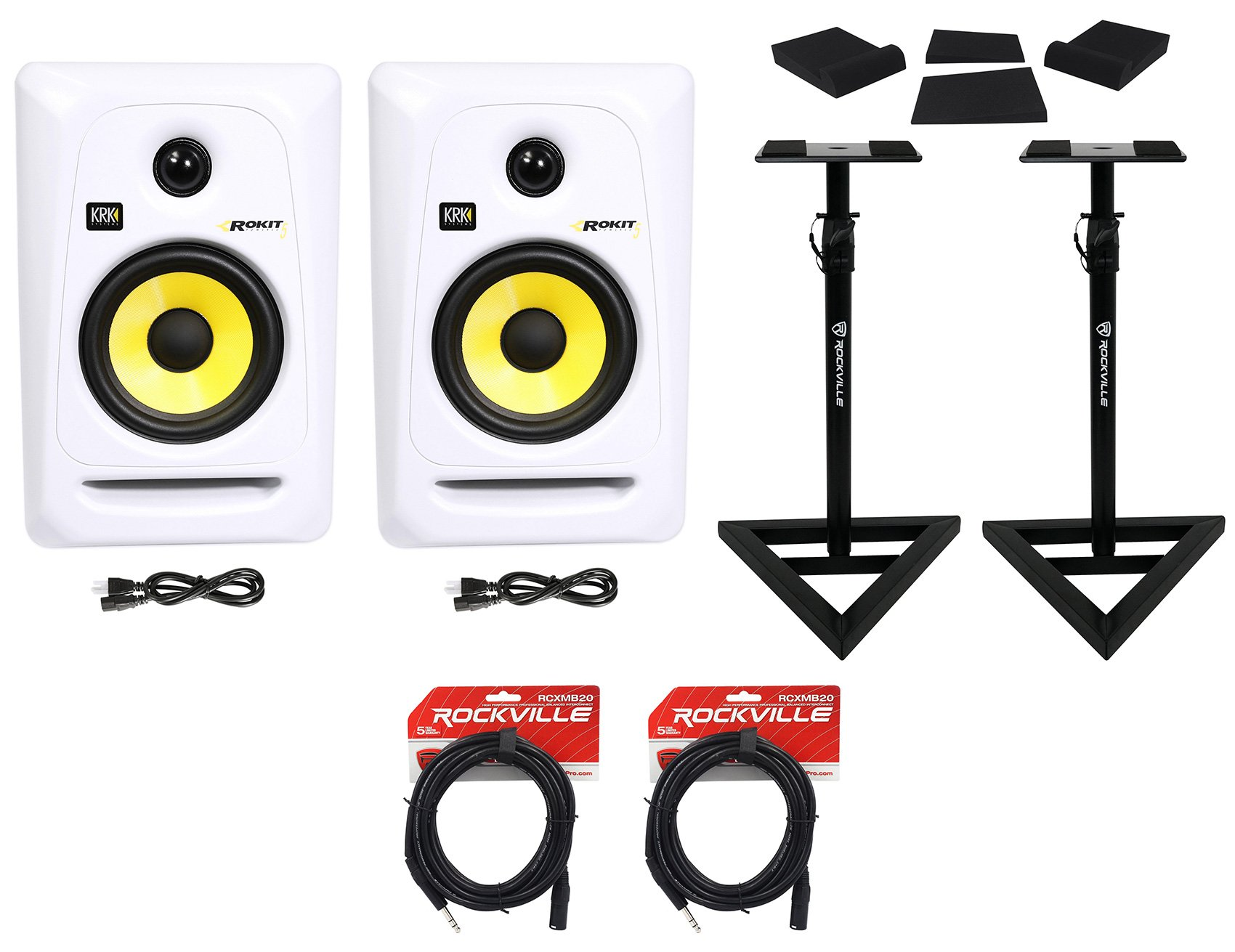 (2) KRK Rokit RP5G3W 5'' White Active Powered Studio Monitors+Stands+Cables+Pads