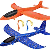 """BooTaa 2 Pack Airplane Toys, Upgrade 17.5"""" Large Throwing Foam Plane, 2 Flight Mode Glider Plane, Flying Toy for Kids, Gifts"""