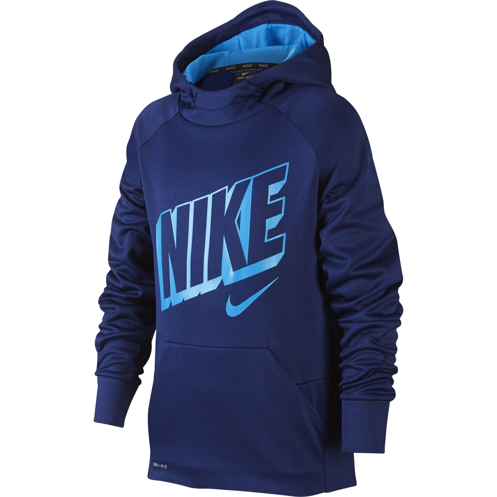 Nike Boy's Therma Graphic Training Pullover Hoodie Blue Void/Blue Hero Size Small