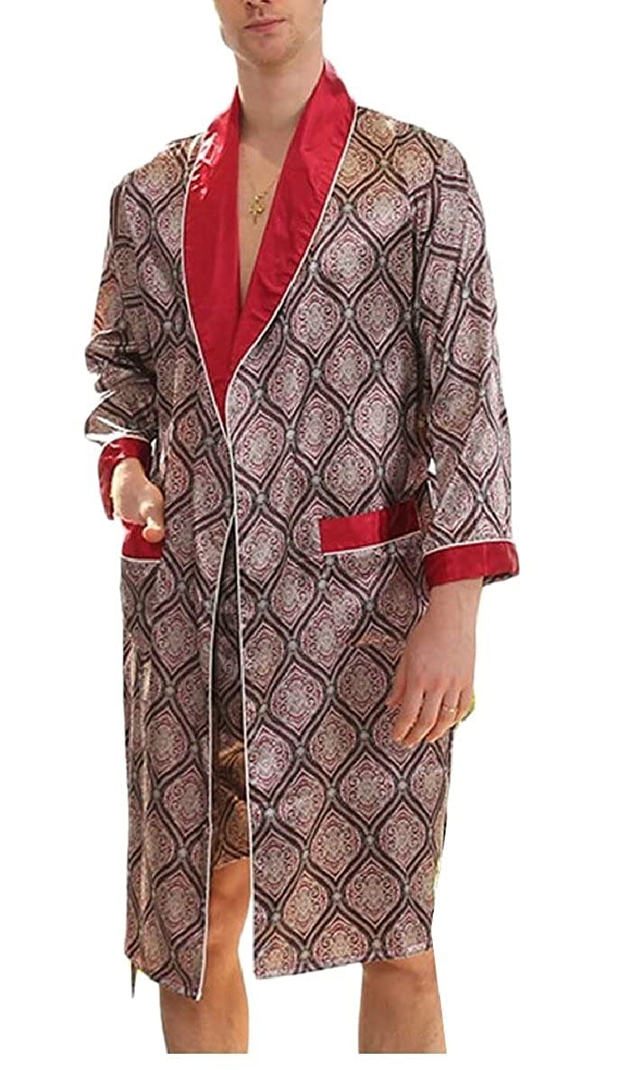 ONTBYB Men Satin Robe Silk Long Sleeve Kimono Bathrobe Classic Satin Sleepwear