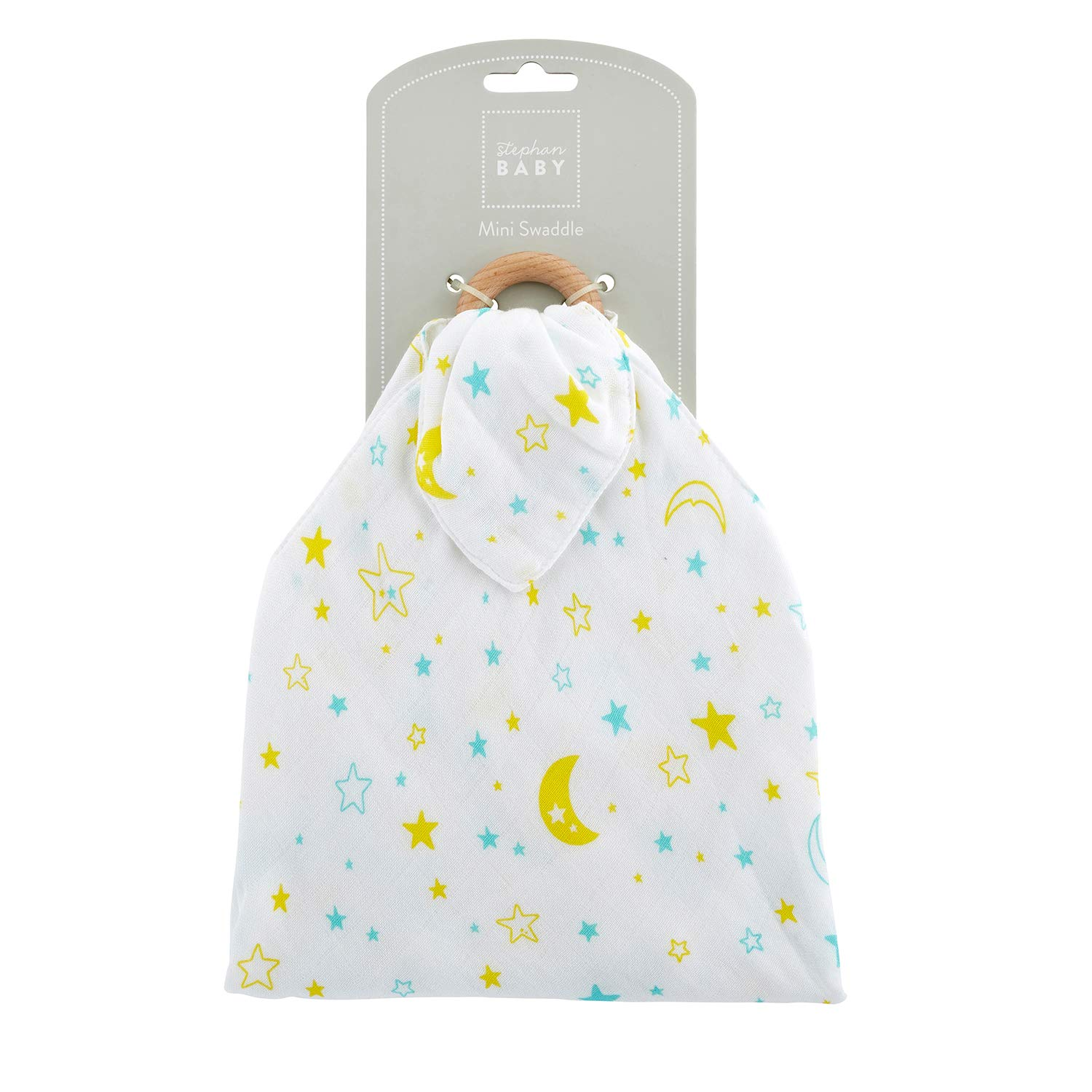 Stephan Baby Viscose Cotton Mini Swaddle with Beechwood Teething Ring Pastel Moons and Stars Available in 4 Designs