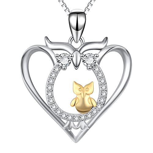 020f9e8c780b7 Angel caller Mother and Child Owls Sterling Silver Two-Tone Love Heart Owl  Pendant Necklace for Women