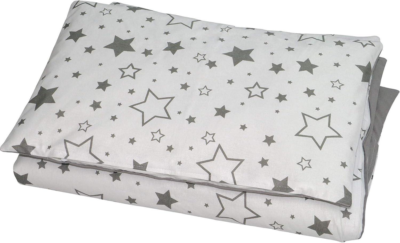 Balbina Juego de cama para bebé reversible ☆ estrellas 100 x 135 cm funda nórdica 40 x 60 cm funda de almohada |2 piezas 100% algodón con cremallera (estrellas grises)