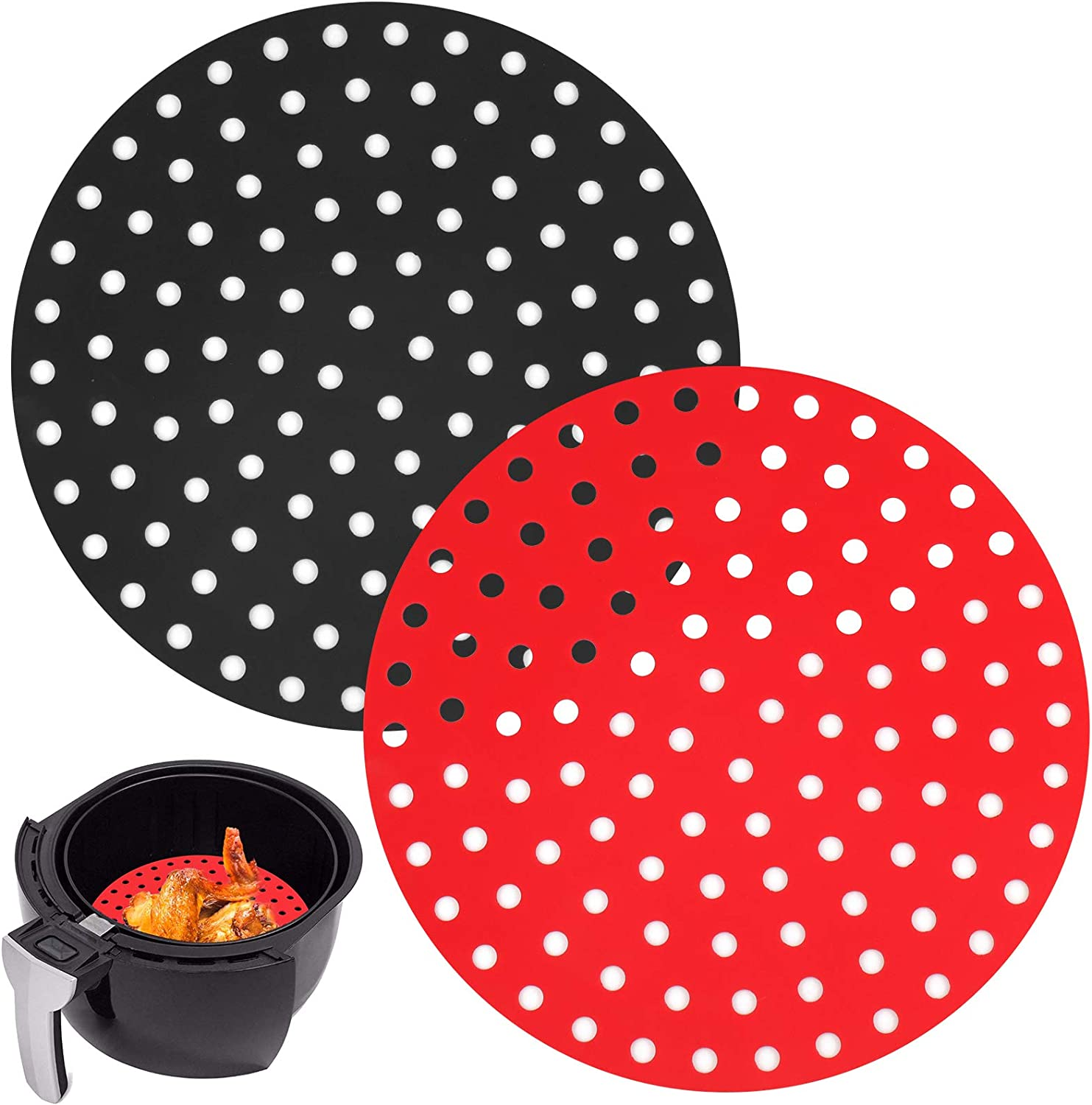 2 Pack Reusable Air Fryer Liners, 9 Inch Round Perforated Air Fryer Basket Silicone Mats, Non-Stick Air Fryer Accessories for 5.3 QT & Larger AirFryers/Oven/Pressure Cooker