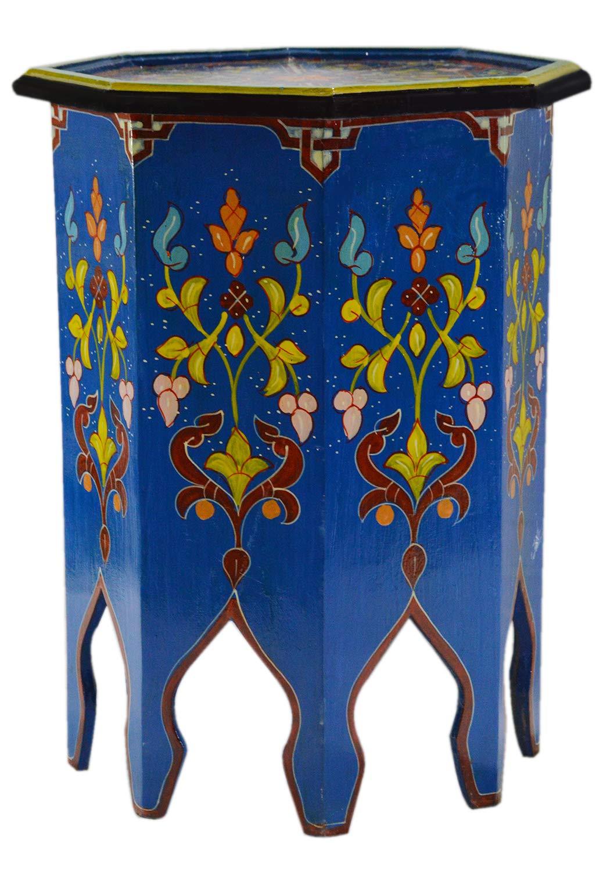 Amazon.com: Marroquí hecho a mano mesa de madera lateral ...