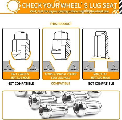 Cone Acorn Taper Seat Works with Can-Am Honda Polaris M12x1.5 Lug Nuts MIKKUPPA 16pcs Chrome Spline Drive Lug Nuts Includes Socket Key Tool 19mm Hex Size 1.4 inch Length