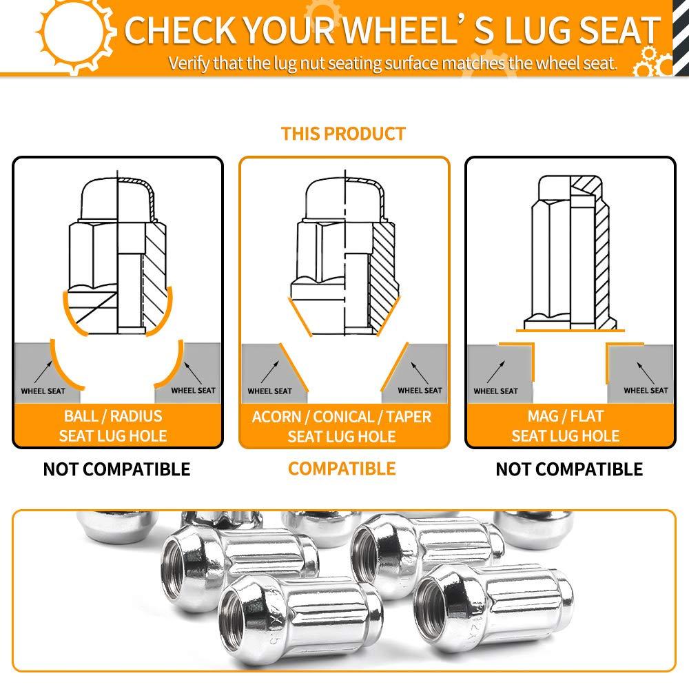 1.4 inch Length Includes Socket Key Tool MIKKUPPA 16pcs Chrome Spline Drive Lug Nuts 19mm Hex Size Cone Acorn Taper Seat Works with Can-Am Honda Polaris M12x1.5 Lug Nuts