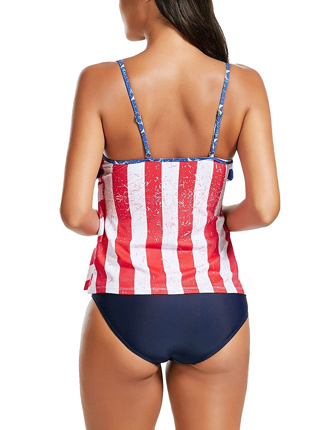 45a6d1eee0 Nicetage Womens Layered Lace Mesh Swimsuit Solid Ruched Bikini Set Tankini  Bathing Suit C-LF