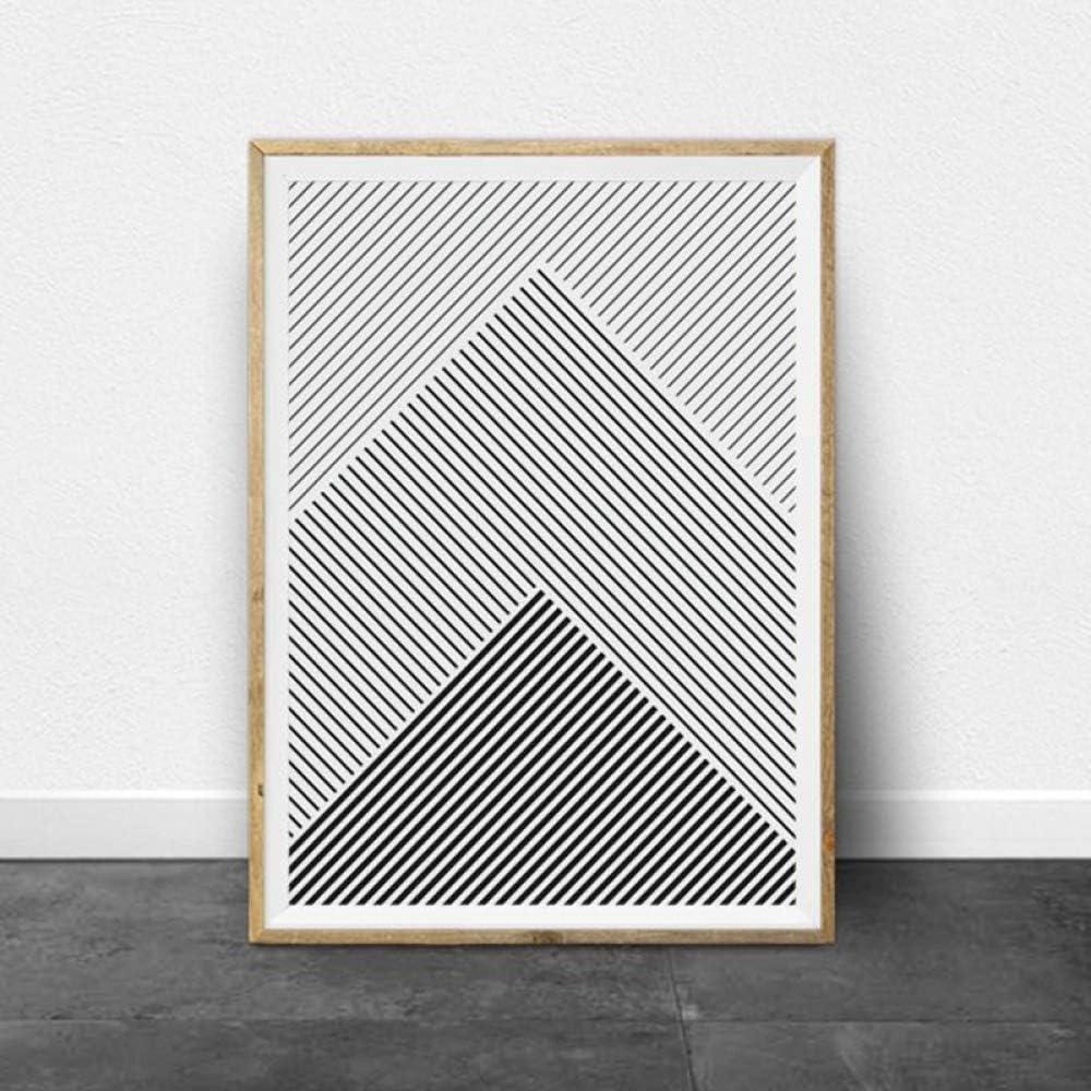 Rayas en blanco y negro arte geométrico impresiones en lienzo y carteles modernos dibujos de líneas minimalistas cuadros decoración de la pared del hogar pintura50x70 cm sin marco