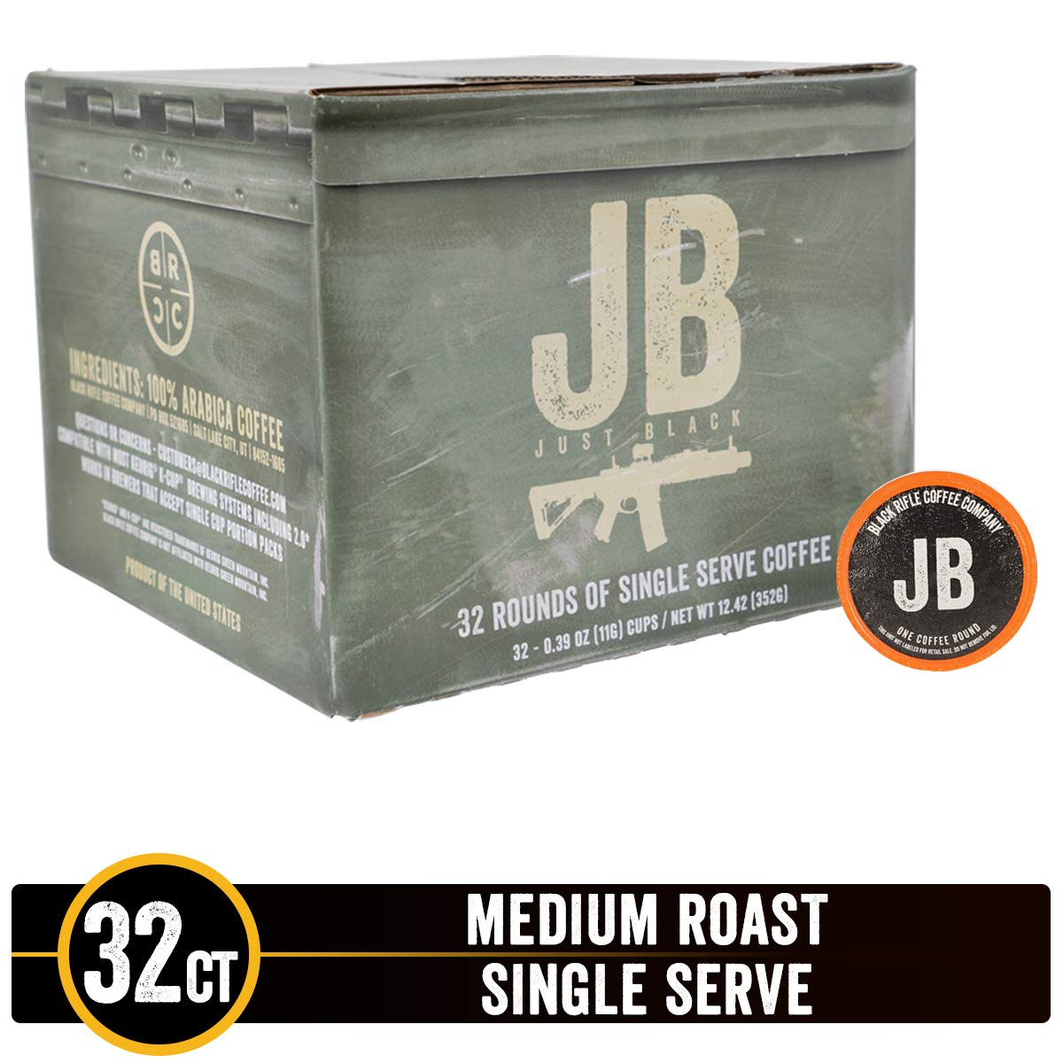 Just Black Medium Roast Single Serve Coffee Rounds by Black Rifle Coffee Company | 32 Count Coffee Pods | Compatible with Keurig K Cup Brewers | Coffee Lovers Gift