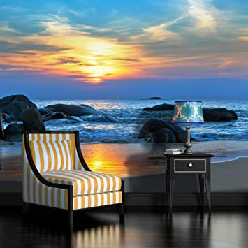 Sunset Beach Wallpaper Mural Amazon