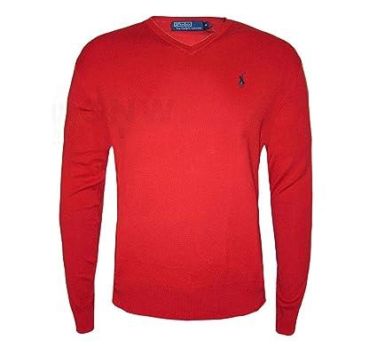 Ralph Lauren - Polo hommes, pull   chandail à col V - S, Rouge  Amazon.fr  Vêtements  et accessoires 1a7a872db09e