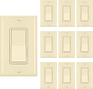 [10 Pack] BESTTEN Single Pole Decorator Wall Light Switch with Wall Plate, 15A 120/277V, On/Off Rocker Paddle Interrupter, UL Listed, Ivory