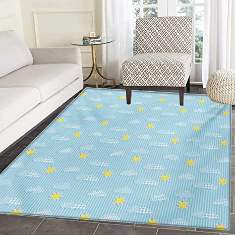 Amazoncom Yellow Blue Bath Mat Tub Cute Clouds Sun Pattern