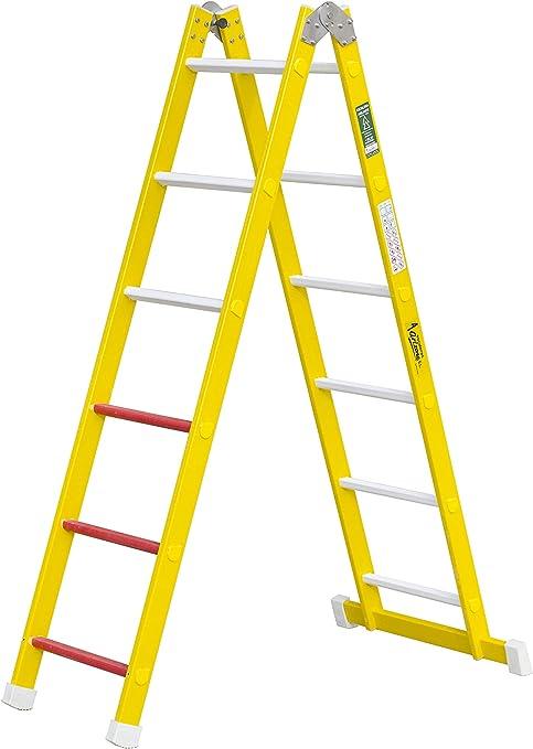 Escalera aislante de un tramo plegable. Permite su uso como escalera de un tramo o escalera de tijera, fabricada en fibra de vidrio. Según norma UNE-EN 131 (12 peldaños): Amazon.es: Bricolaje y