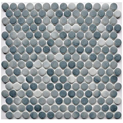 Glass Penny Round Mosaic Tiles With Mesh Backing Blue And