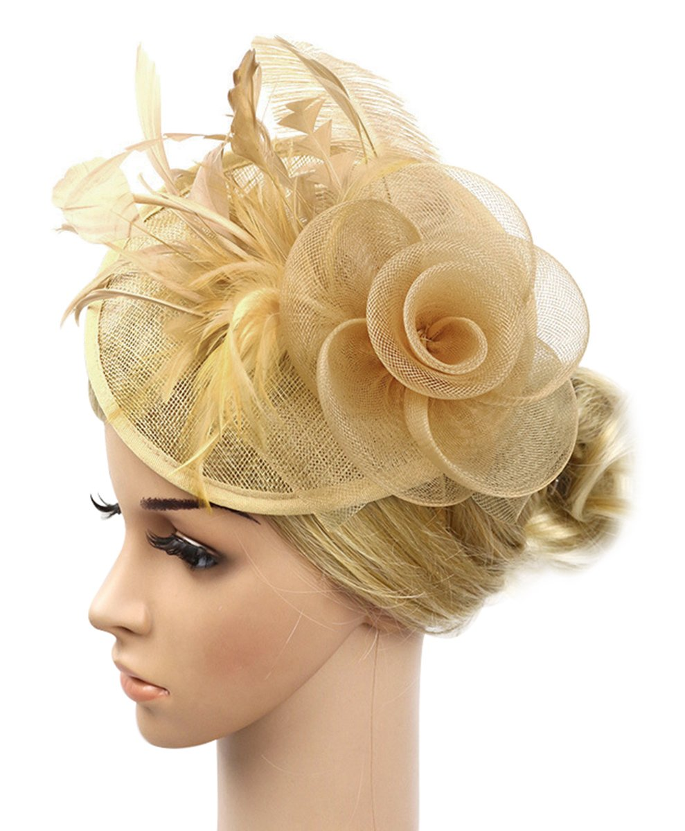 Z&X Sinamay Fascinator Headband Mesh Feather Flower Cocktail Pillbox Hat (Gold)