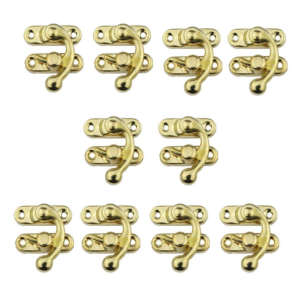 Rzdeal 10PCS 27 * 32 mm decorativo scatola chiusura scatola di legno antico petto chiusura Hasp blocco cattura Decor tono oro