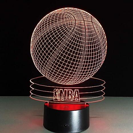 3D Luz de la Noche LED Lámpara de Mesa Baloncesto de la NBA 7 ...