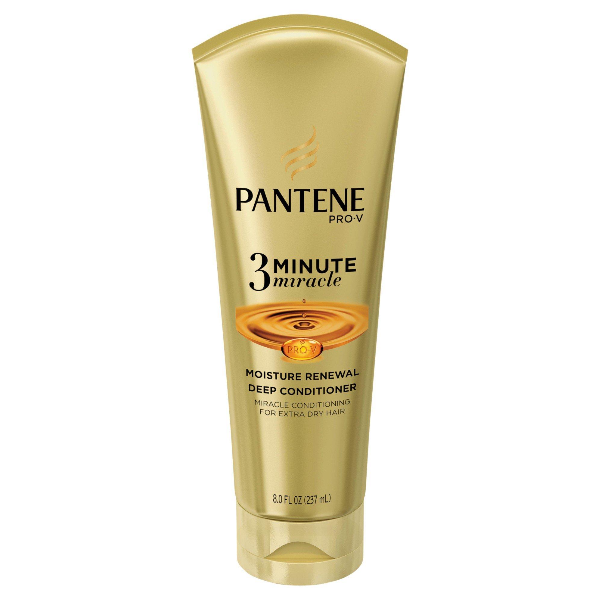 Pantene Pro‑V 3 Minute Miracle Moisture Renewal Deep Conditioner 8 OZ (Pack of 4) + (Vitaminder Power Shaker Bottle, 20 oz Bottle) by Pantene (Image #1)