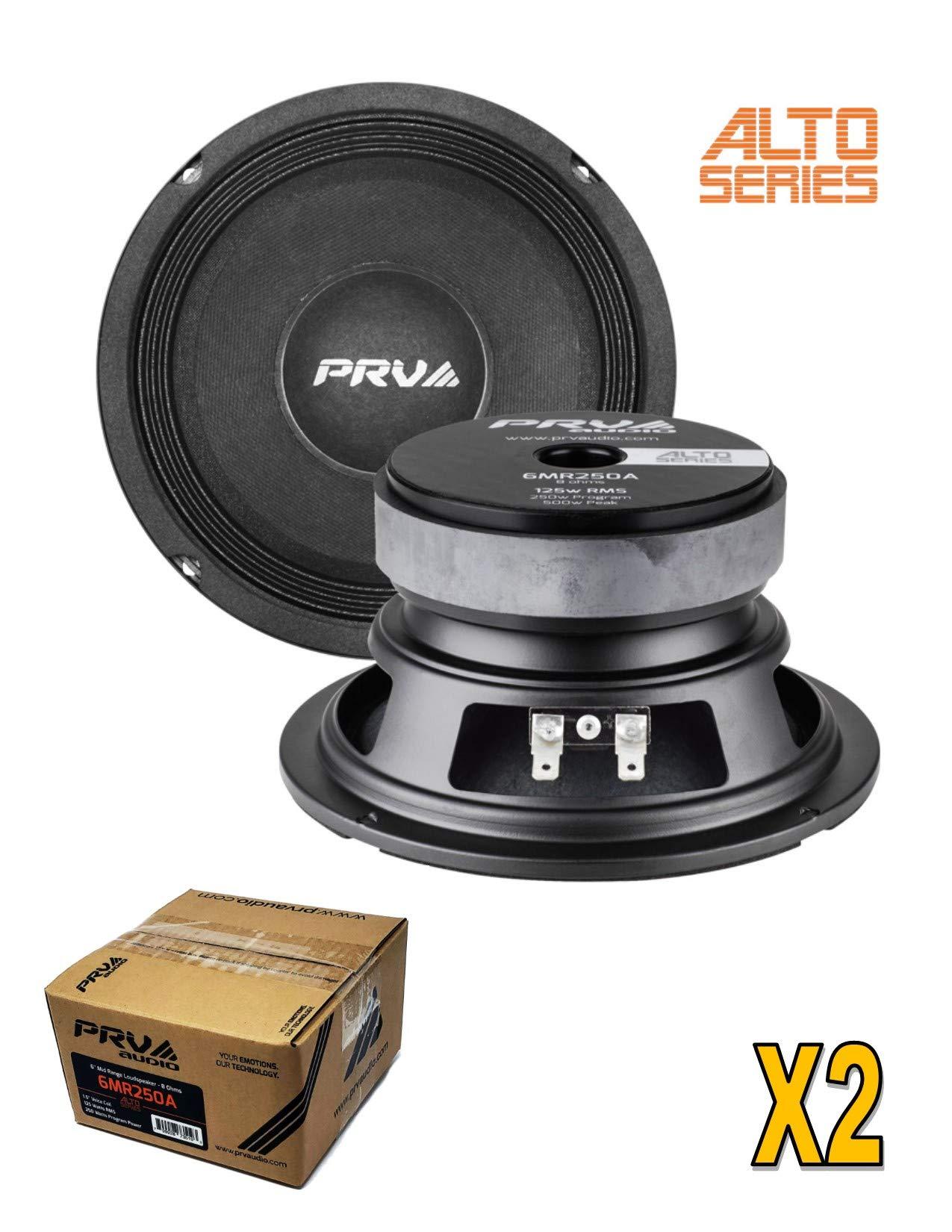 2 x PRV Audio 6MR250A-8 Mid Range 6'' Pro Audio Loud Speaker 8 ohm 500 Watts