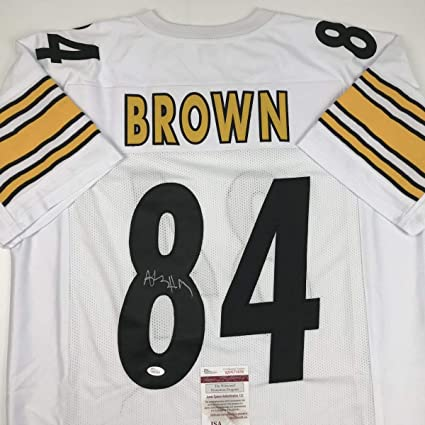 Image Unavailable. Image not available for. Color  Autographed Signed  Antonio Brown Pittsburgh White Football Jersey ... c3a366313