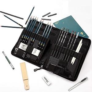 FUNSTAR Sketching Pencils Set, 40pcs Professional Art Kit Sketching Tools Drawing Pencils and Sketch Kit, Complete Artist Kit Includes Graphite Pencils, Pastel Stick, Sharpener & Eraser, A5 Sketch Pad