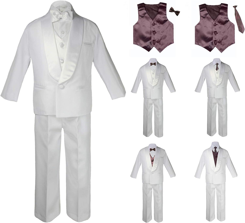 Teen Boys Wedding Formal Shawl Lapel Bow Tie Vest Sets Tuxedo Black Suits 5-18