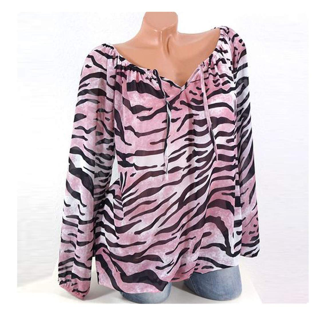 Womens Tops Clearance - WEUIE Womens Casual Long Sleeve Blue Stripe Button T-Shirts Irregular Tops Blouse(L, Pink)