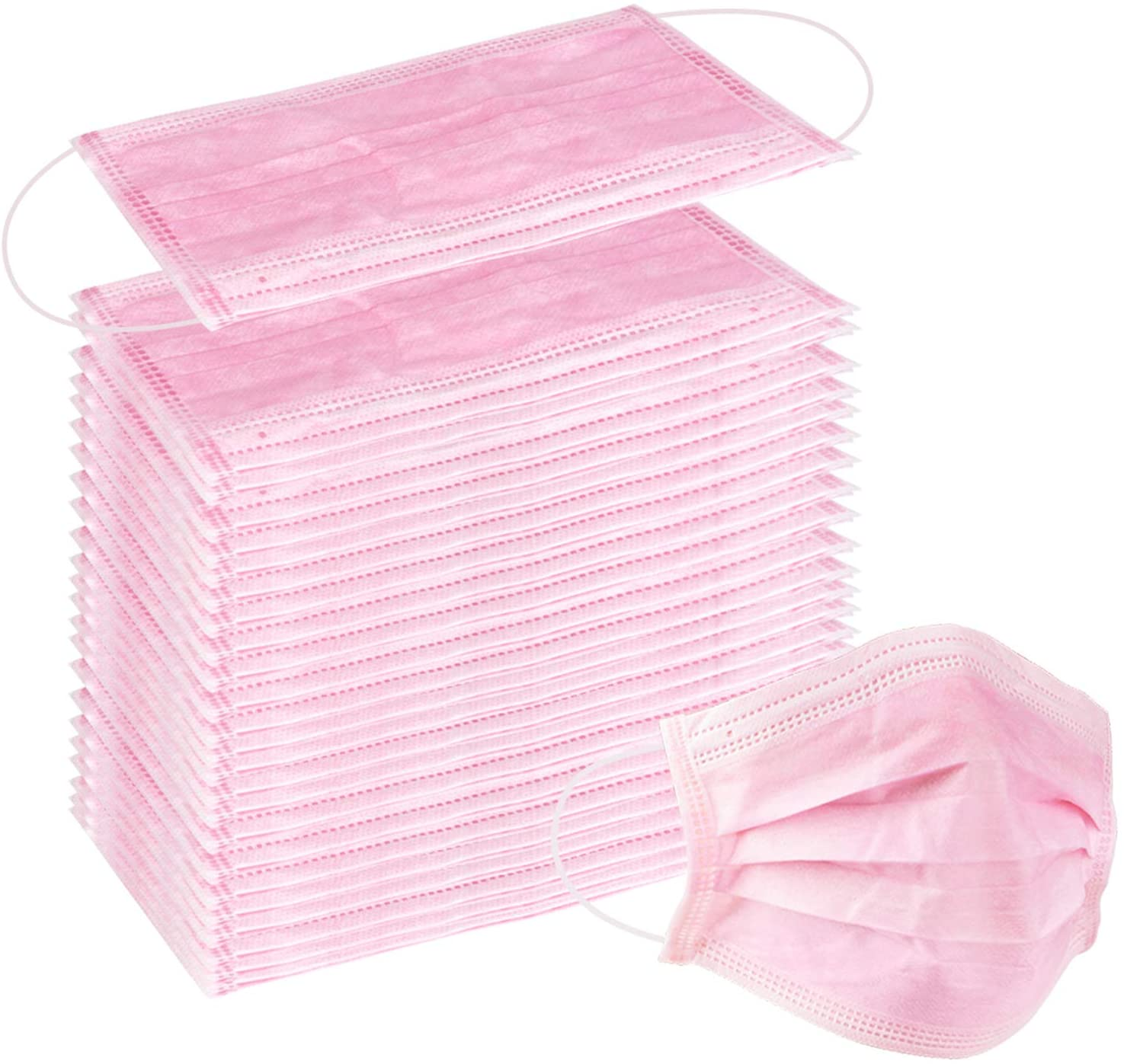 100 Pcs Disposable Earloop Face Masks Dental Surgical Hypoallergenic Breathability Comfort-Great for People with Allergies and The Flu (Pink)