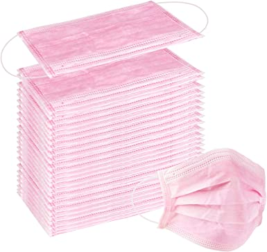 Wecolor 100 Pcs Disposable 3 Ply Earloop Face Masks, Suitable for Home, School, Office and Outdoors (Pink)