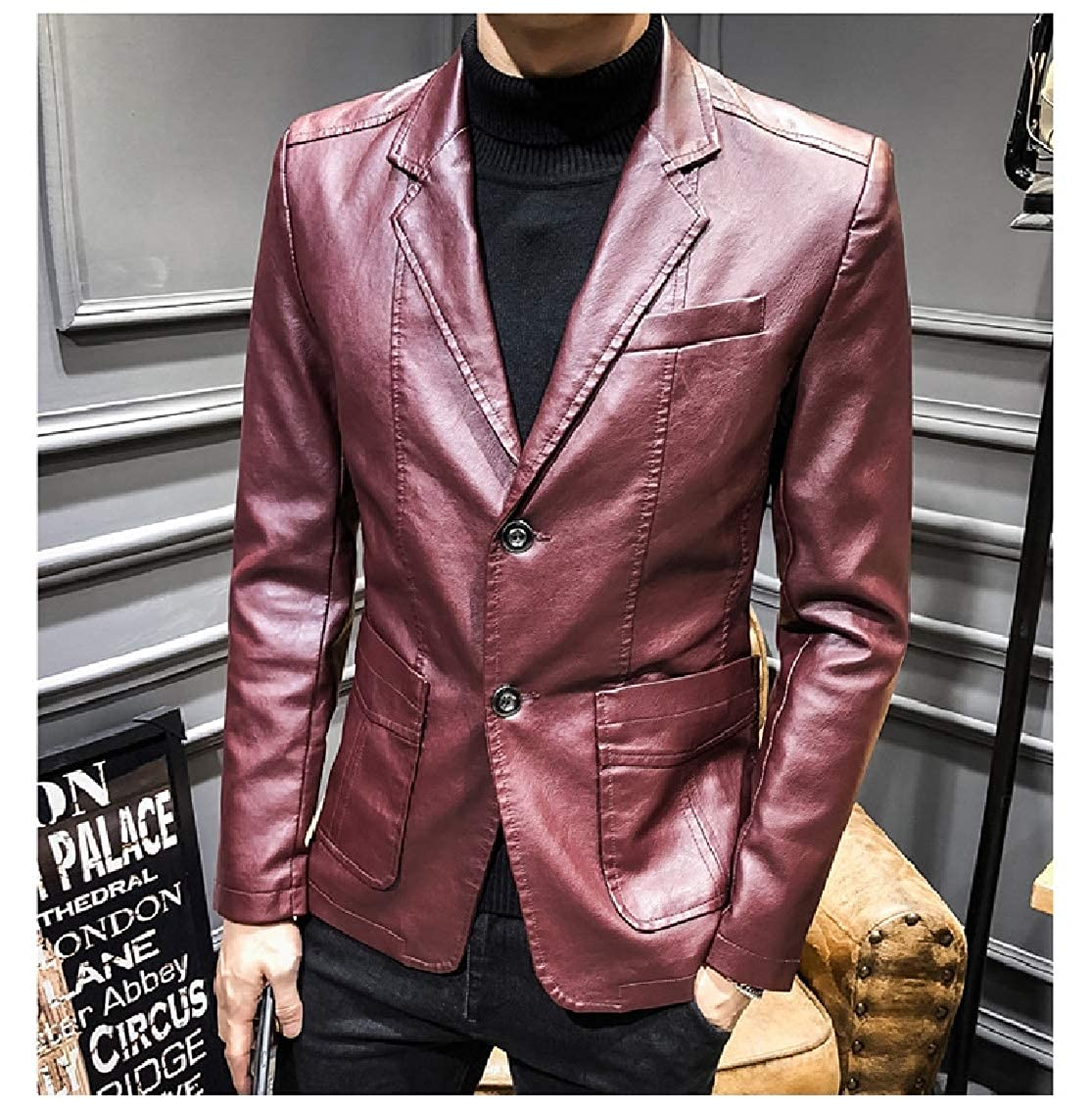 Coolhere Men Original Fit Buttoned Fashion Leather Sports Coat Blazers
