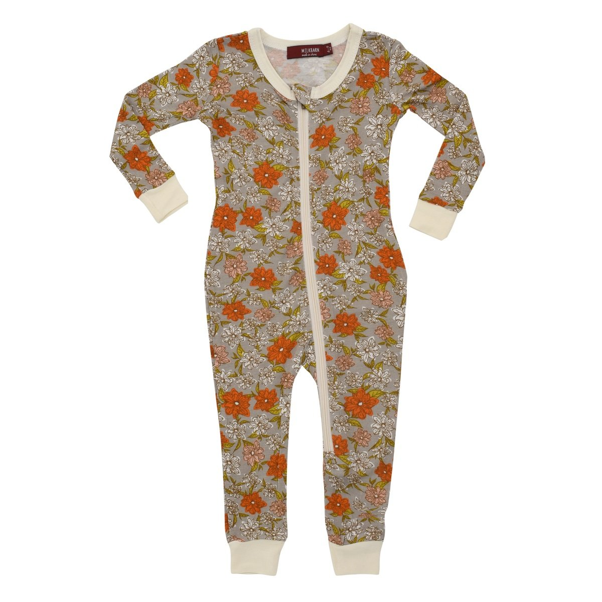 MilkBarn Bamboo Zipper Pajama - Grey Floral (12-18 Months) by MilkBarn