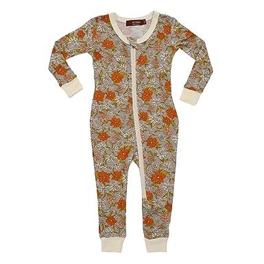 f744679b1 Amazon.com  MilkBarn Bamboo Zipper Pajama - Grey Floral  Clothing