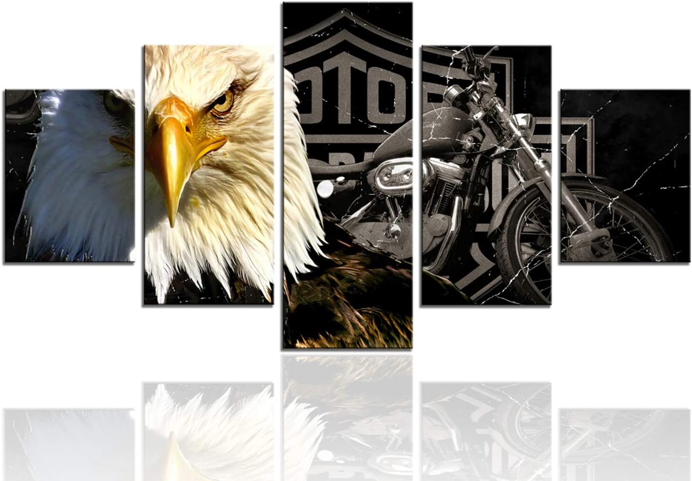 Meigan Art-Modern American Eagle Motorcycle Canvas Art Print for Large Wall Art Decoration, Set of 5 Panels, Ready to Hang