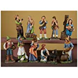 Pastore in resina cm. 10 multicolor - set 10 figure