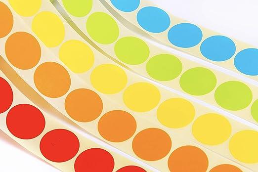 5 rotoli Etichette di Codifica a Colori Rotonde di 25mm di Diametro su Rotolo Giallo Verde 5 Colori Assortiti Pacchetto di 1,500pz. Arancione Blu Rosso