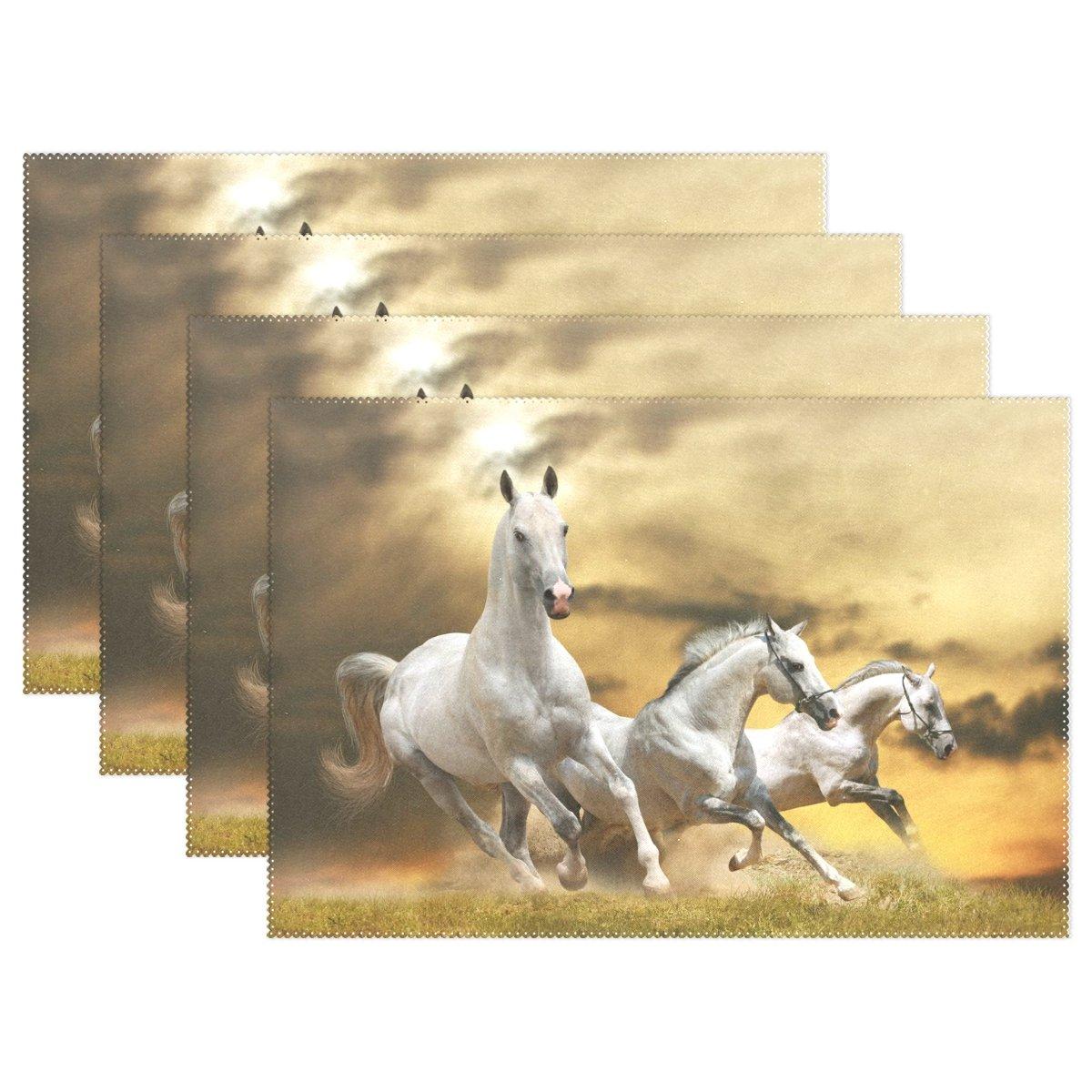 馬パターン印刷プレースマットテーブルマット、12