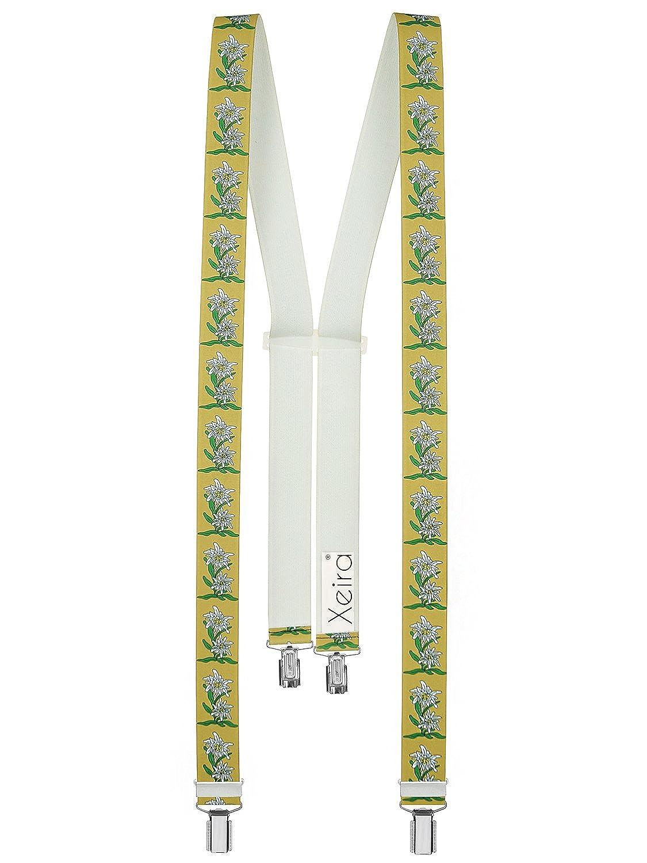 Xeira Hochwertige Edelweiß 4 Clips Hosenträger reg; - Verfügbar in 20 Farben/Schwarz / Grün/Orange / Gelb/Grau / Silber/Blau / Braun/Pink