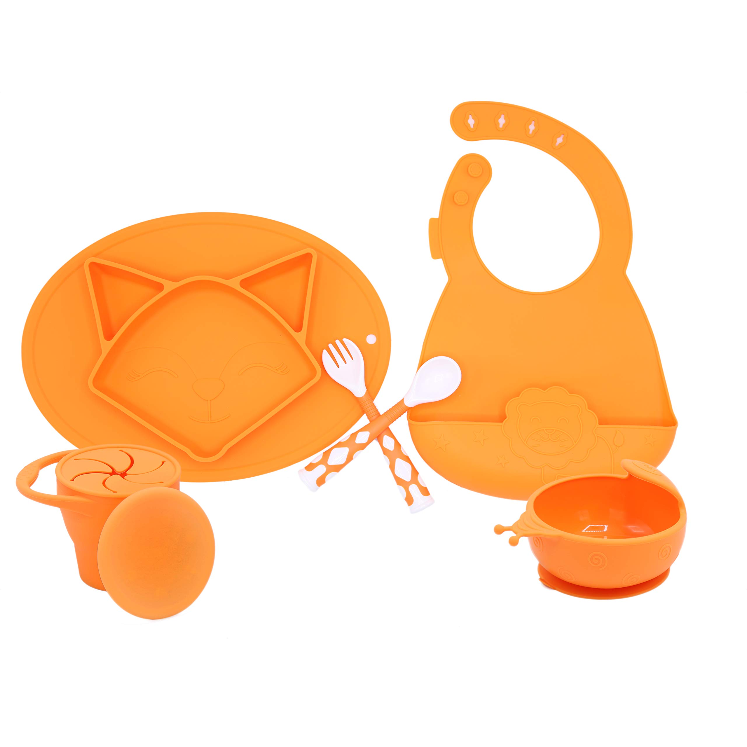 5 PC Silicone Dinnerware Baby Place Mat Cup Flatware Bowl Bib Fork and Spoon Anti Slip Easy to Clean Kids Placemat Fun Animal Shapes and Colors 5 Piece Set Orange (Fox) by AG