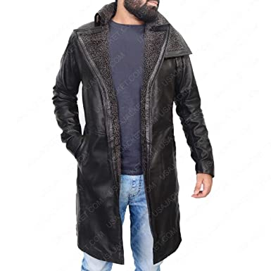 c1fd441172d1 The Custom Jacket Officer K Blade Runner 2049 Costume Black Shearling Fur  Leather Trench Coat (
