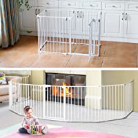 3-in-1 Super Wide Adjustable Baby Safety Gate and Play Yard Pet Playpen - Multiple Size 6 Panels - 360cm