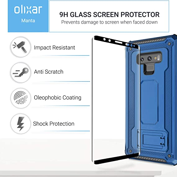 ... Case Compatible Tempered Glass - Tough Protective Case - Front + Back 360 Degree Full Body Protection - Manta - Blue: Cell Phones & Accessories