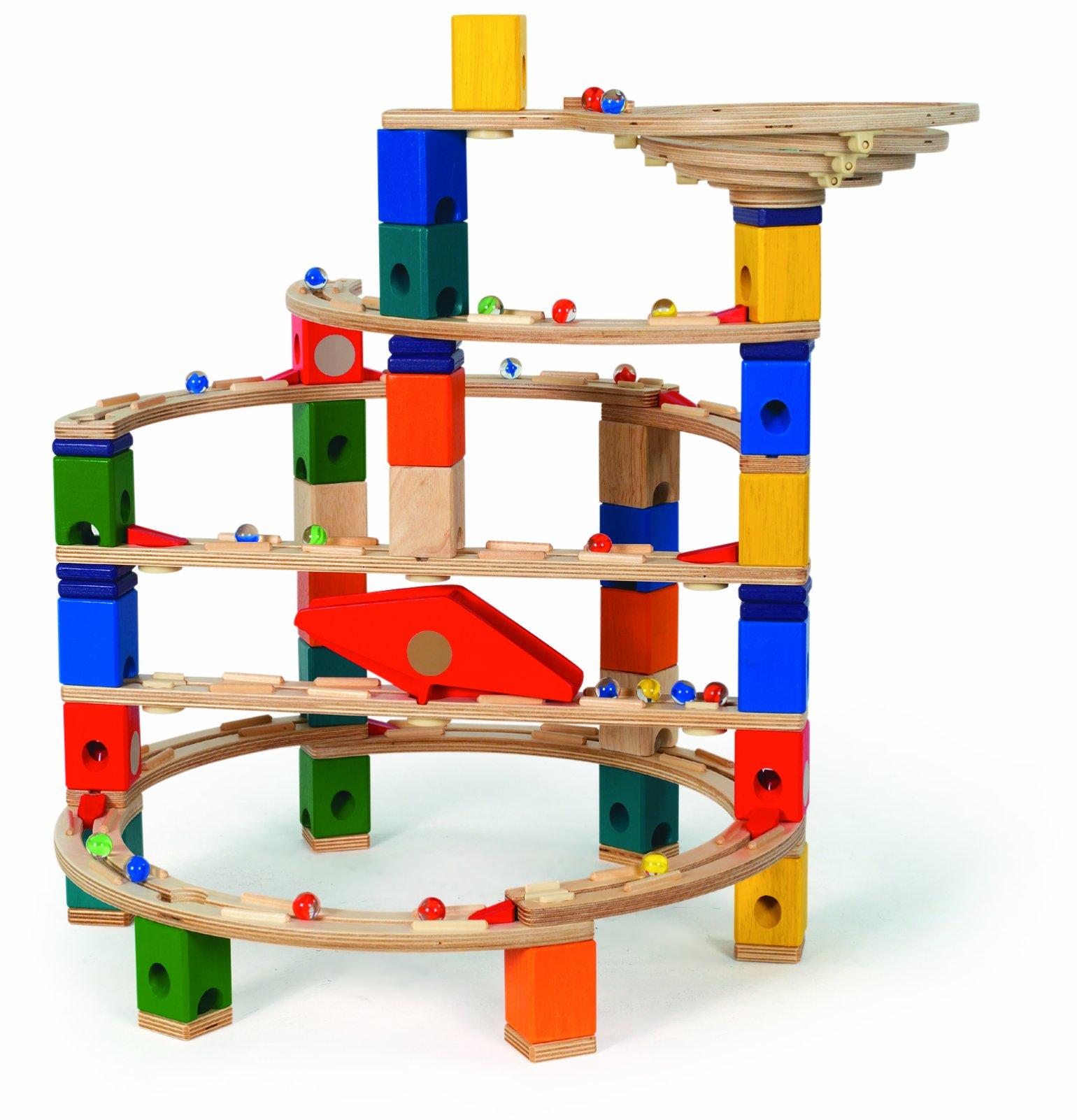 Hape Quadrilla Wooden Marble Run Construction Twist and Rail Add On Set