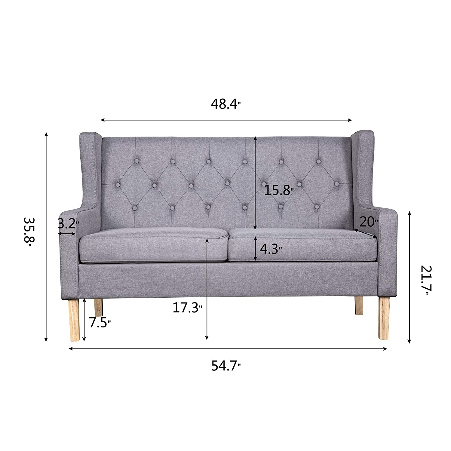 Amazon.com: ROOMANCE Accent Chair Loveseat 2 Seat Sofa ...