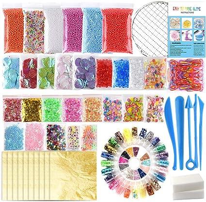 Kuuqa 61 Packs Slime Fournitures Kit de y compris bocal Perles SUCRE papier Grille aucune